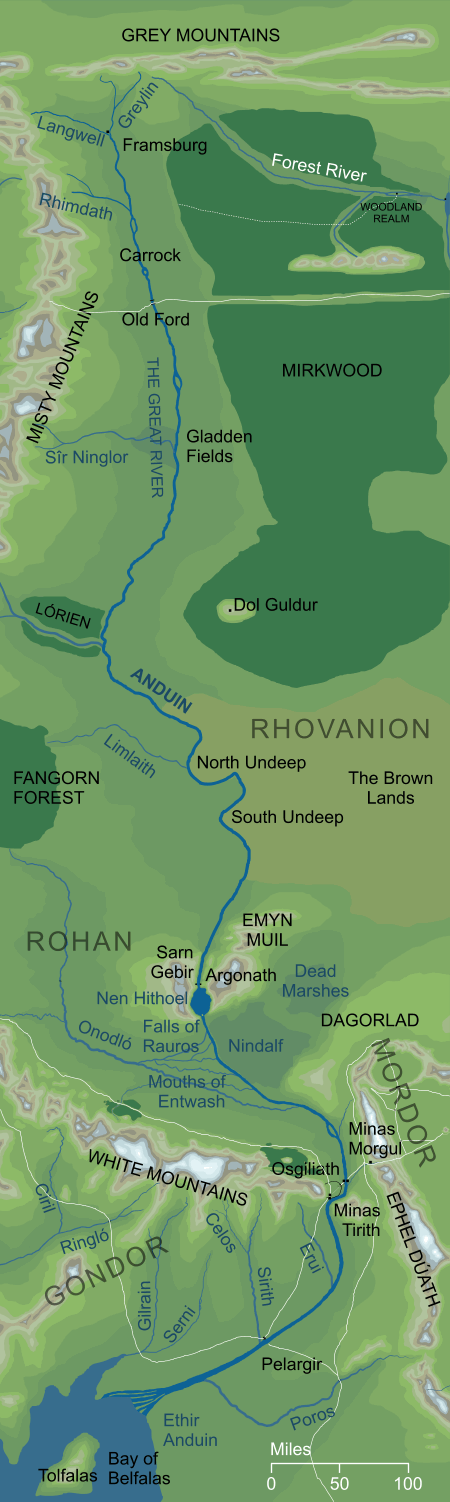 Map of the Great River Anduin