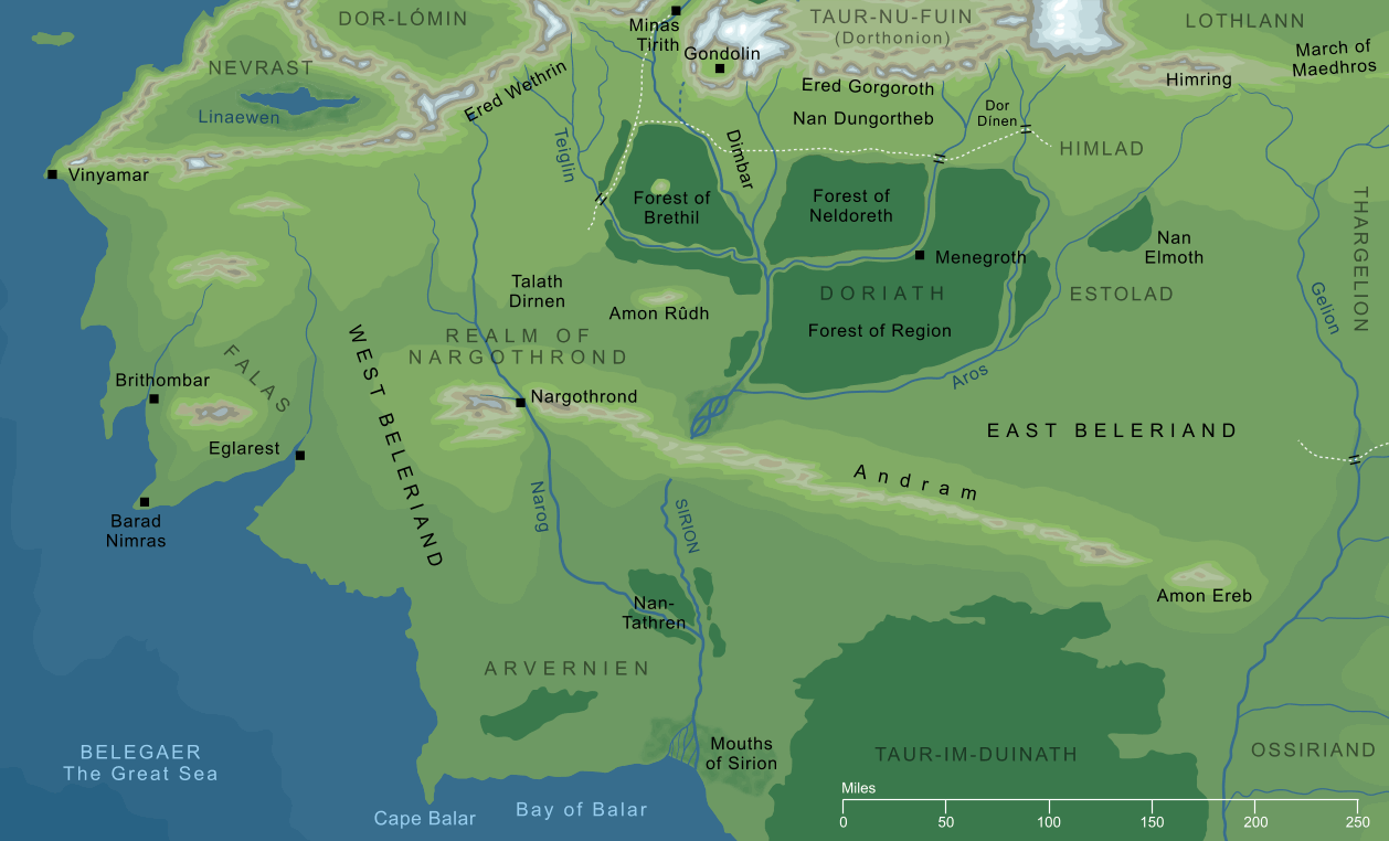 Map of Beleriand and its surrounding regions