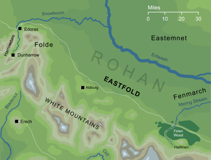 Map of the Eastfold of Rohan