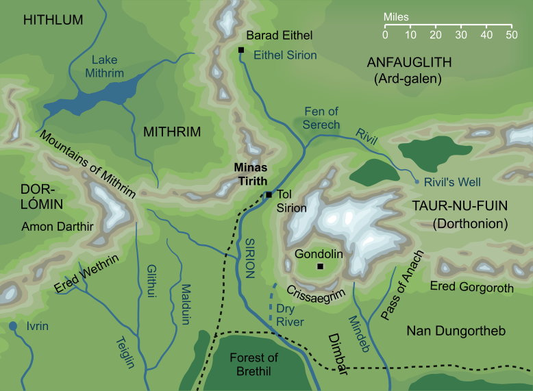Map of Minas Tirith on Tol Sirion