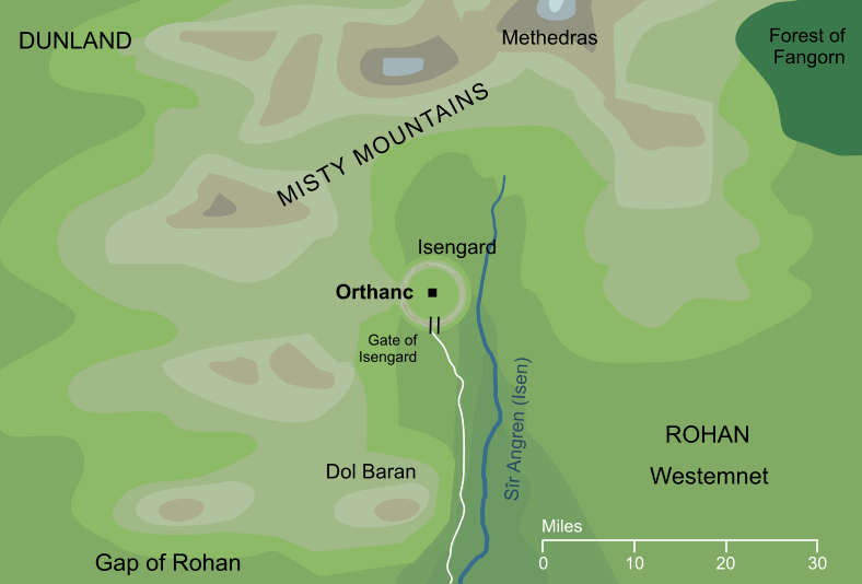Map of Orthanc and its surroundings