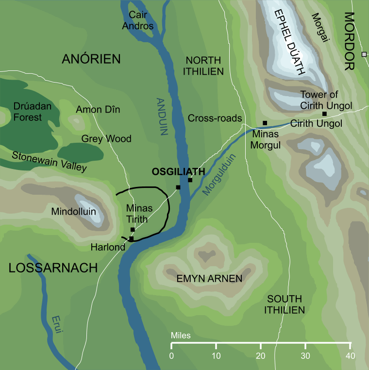Map of Osgiliath and its surroundings