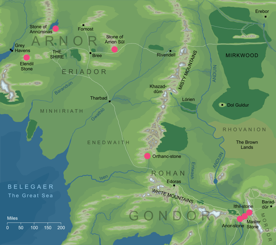 The original locations of the Seeing-stones