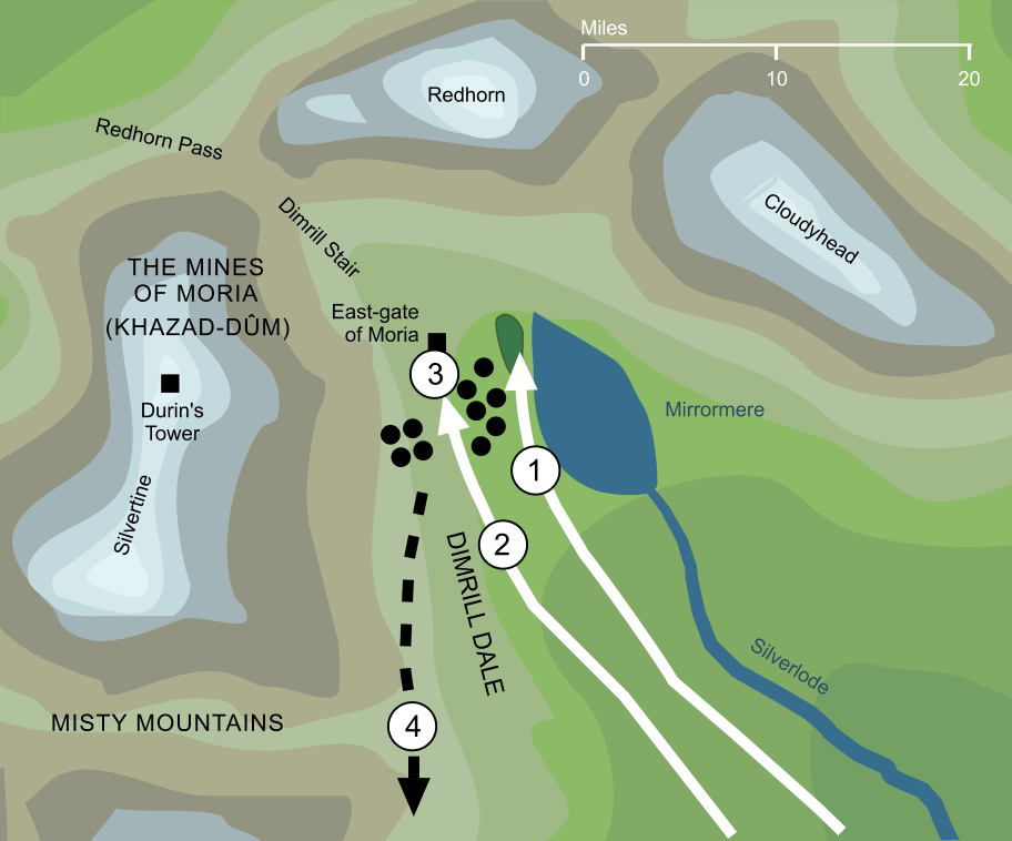 Map of the Battle of the Mines of Moria